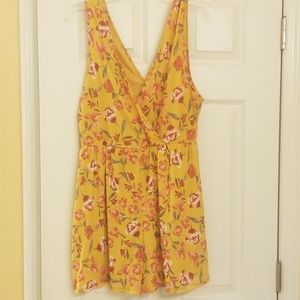 Yellow floral romper NWOT